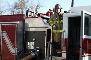 Fireman on truck